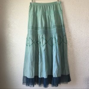 vintage hippie festival lace tulle maxi skirt